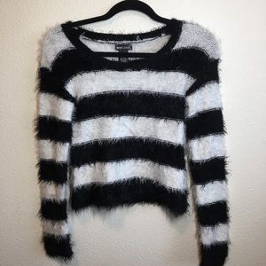 Black and White Striped Fuzzy Sweater